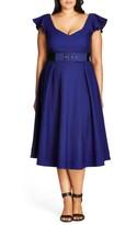 City Chic Plus Size Women's Flirty Flutter Belted Midi Dress