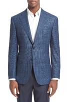 Canali Men's Classic Fit Windowpane Wool Sport Coat