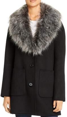 Laundry by Shelli Segal Hooded Faux Fur-Trim Coat