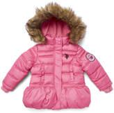 U.S. Polo Assn. Medium Pink Peplum Puffer Jacket - Toddler & Girls