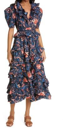 Ulla Johnson Aurora Floral Print Ruffle Midi Dress