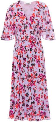 Diane von Furstenberg Nala Shirred Printed Stretch-mesh Midi Dress