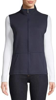 Karen Scott Quilted Cotton-Blend Fleece Vest