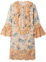Anna Sui Decoupage Lace-trimmed Fil Coupé Silk-blend Mini Dress - Sand