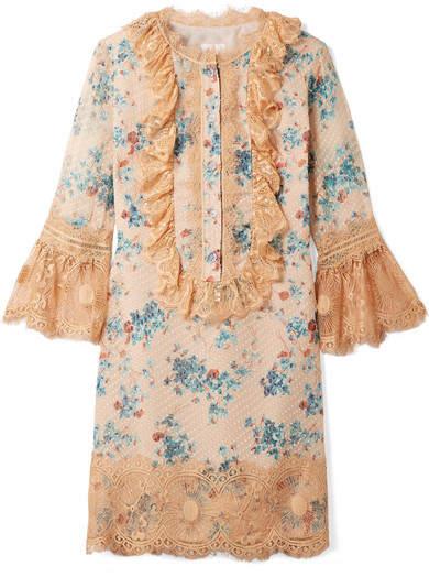 Anna Sui Decoupage Lace-trimmed Fil Coupé Silk-blend Mini Dress - Sand