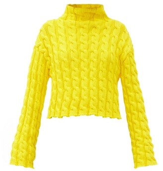 Balenciaga Cropped Cable-knit Sweater - Yellow