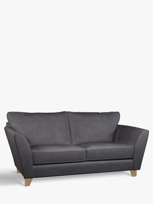 John Lewis & Partners Oslo Medium 2 Seater Leather Sofa, Light Leg, Soft Touch Grey
