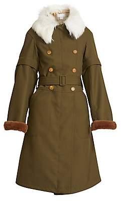 Chloé Women's Shearling-Collar Faux Fur-Cuff Military Parka
