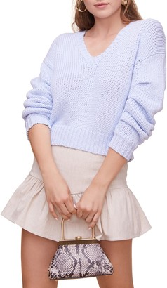 ASTR the Label Ruched Sleeve Cotton Sweater