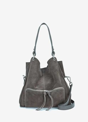 Mint Velvet Nelly Grey Suede Tote Bag