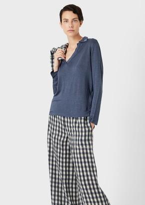 Giorgio Armani Long-Sleeved, Linen Polo Shirt