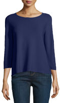 Eileen Fisher 3/4-Sleeve Organic Cotton Links Top