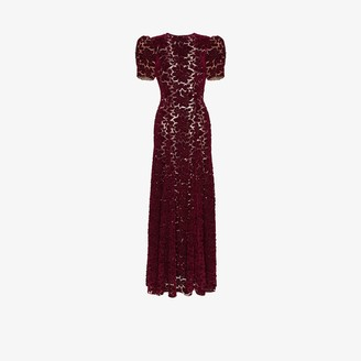 The Vampire's Wife Flocked Lace Velvet Maxi Gown
