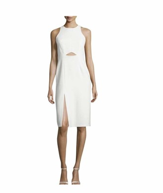 Halston Women's Sleeveless High Neck Fitted Dress with Front Cut Out