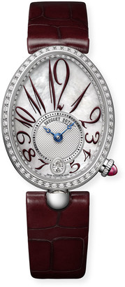 Breguet 18k White Gold Diamond-Bezel Watch w/ Red Alligator Strap