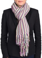 Missoni Women Classic Zig Zag Knit Scarf Shawl Green And Multi-colors.