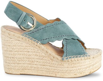 Marc Fisher Pino Sport Tamarin Suede Espadrille Slingback Wedge Sandals