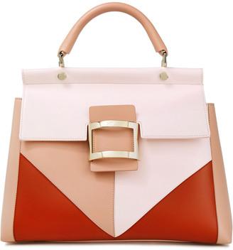 Roger Vivier Viv Cabas Small Color-block Leather Tote