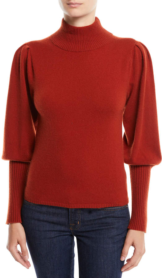 Sea Cailyn Turtleneck Puff-Sleeve Cashmere Sweater