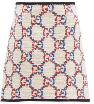 Gucci GG Boucle Tweed Mini Skirt - White Multi