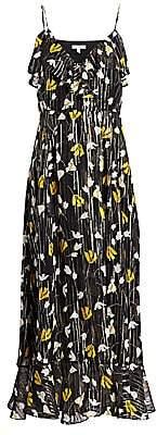 Joie Women's Kenny Floral Metallic-Silk Flounce Dress