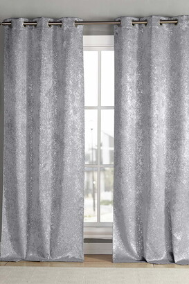 "Duck River Textile Maddie Blackout Grommet Curtains 84"" - Set of 2 - Silver"