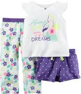 Carter's 3-pc. Tropical Pajama Set - Baby Girls 12m-24m