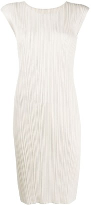 Pleats Please Issey Miyake Fitted Sleeveless Midi Dress