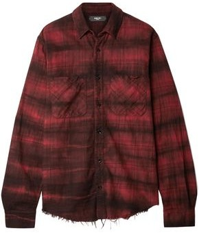 Amiri Frayed Checked Cotton-flannel Shirt