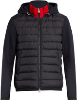 Moncler Quilted-front cotton-jersey hooded sweatshirt