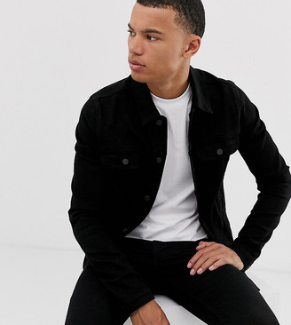 ASOS DESIGN Tall skinny western denim jacket in black
