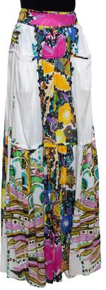 Roberto Cavalli White Printed Cotton Gathered Maxi Skirt M
