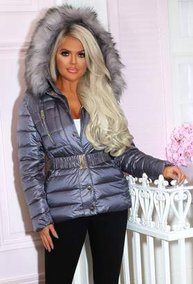 Pink Boutique No Chills Grey Matte Padded Coat With Fur Hood
