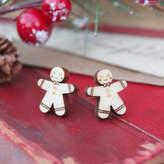 Ginger Pickle Wooden Gingerbread Man Earrings