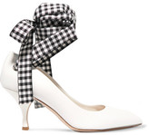 Miu Miu Canvas-trimmed Leather Pumps - White