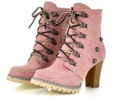 Caddy Wolfclaw Women Classic Lace Up Rivets Oxford Shoes Chunky High Heel Ankle Booties