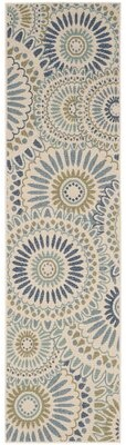 "Safavieh Caroline Gray/Ivory/Blue Indoor/Outdoor Area Rug Rug Size: Runner 2'3"" x 8'"