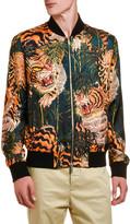 DSQUARED2 Men's Tiger Bamboo-Print Silk Bomber Jacket