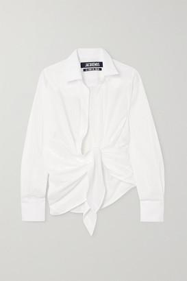 Jacquemus Bahia Tie-front Striped Cotton-jacquard Shirt - White