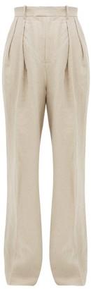 J.W.Anderson Fringed Linen Wide-leg Trousers - Womens - Beige