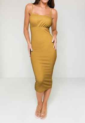 Missguided Mustard Ruched Bust Strappy Midaxi Dress