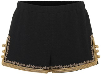 Saint Laurent Embellished crepe shorts