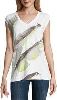 Liz Claiborne Sleeveless V Neck T-Shirt-Womens