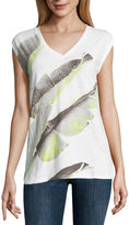 Liz Claiborne Sleeveless V Neck T-Shirt