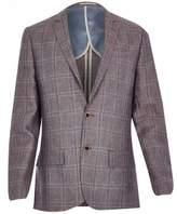 River Island Mens Purple linen-blend check slim blazer