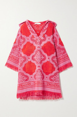 Zimmermann Poppy Hooded Fringed Cotton-terry Jacquard Mini Dress - Red