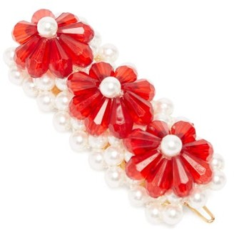 Shrimps Floral Bead And Faux Pearl-embellished Hair Clip - Red