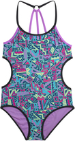 Big Chill Turquoise Geometric Cutout One-Piece - Girls
