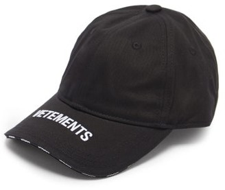 Vetements Logo-embroidered Cotton-canvas Baseball Cap - Black