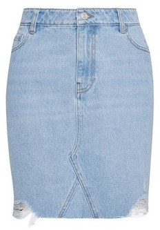 Dorothy Perkins Womens Blue Bleach Organic Cotton Ripped Denim Mini Skirt, Blue